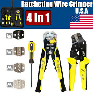 4 In 1 Ratcheting Cable Wire Hand Crimpers Crimping Plier Cord End Terminal Tool