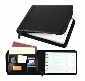 7 Ring Business Check Book 3 on a page Pu Leather Zipper Checkbook Binder Black