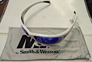 Smith Wesson Sw103 70 id White Frames Blue Mirror Lens Shooting Glasses