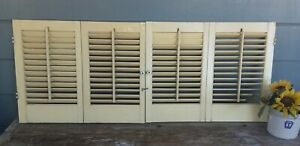 Set Vintage Pale Yellow Louvered Wood Window Shutters 18 5 X 46 Total Coverage