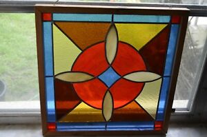 Art Deco Nouveau Sun Cross Victorian Crafts Stained Glass Leaded Square Window