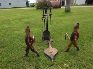 Antique Andirons Fire Place Tool Set With Matching Hessian Soldiers By M Bibi