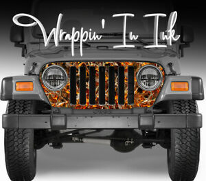 Jeep Grill Wrap Camo Buck Skull Flame Camouflage Jeep Wrangler 1997 2006