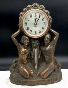 Vintage Spelter Metal Clock Thermometer Man Woman Nude Couple Rose Flame Of Life