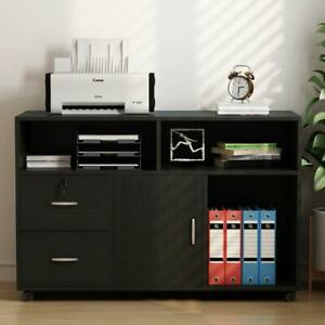 Mobile Lateral Filing Cabinet With Lock Wheels File Cabinet W Drawers Storage