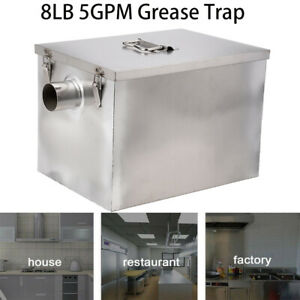 8lb Commercial 5gpm Grease Trap Stainless Steel Interceptor Filter Kit