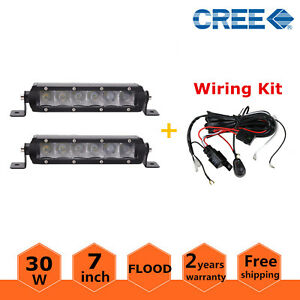 2x 7inch 30w Led Light Bar Slim Flood Offroad Ford Single Row Fog Atv Wiring Kit