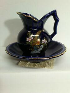 Pitcher And Bowl 4 Inches High Cobalt Blue With Pheasant Print