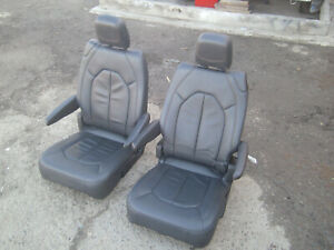 Black Leather 2 Bucket Seats Van Classic Car Hotrod Vanagon Humvee Jeep