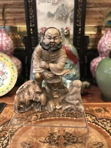 Antique Chinese Carved Soapstone Figurine