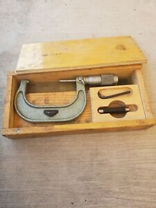 Fowler Micrometer Vintage Antique With Wood Case Set Wrench