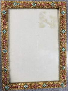 Antique Gold Work And Jeweled Picture Frame