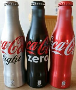 Nice Coca Cola Alu Bottle Set From Germany classic, zero and light. Full bottles
