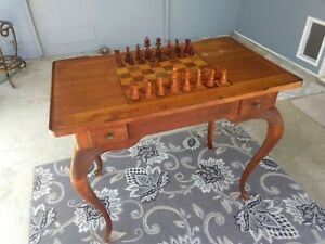 Vintage Italian Chess Checkerboard Game Table With Game Pieces