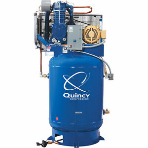 Quincy Qt 10 Splash Lub Reciprocating Compressor 10hp 460v 3phase 120gal
