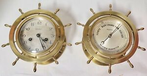 Antique Waterbury U S A Heavy Brass Ships Wheel Clock Barometer Set