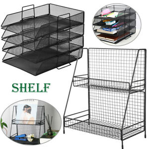 Mesh Desk Document File Organizer Tray Tabletop Paper Letter Holder Stand Rack