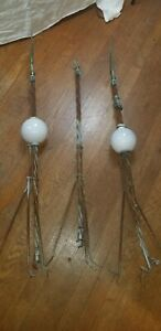 Three Vintage Lightning Rods Weathervanes Patina From Old Wv Barn