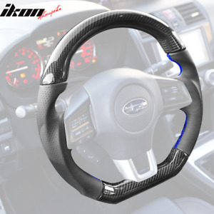 Fits 15 19 Wrx Steering Wheel Carbon Fiber Perforated Leather Blue Stitching