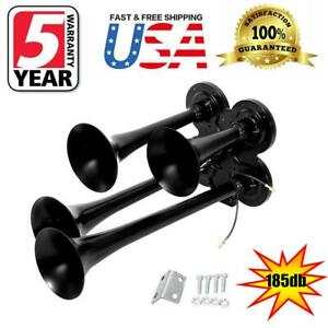 12v 24v 185db Truck Boat Train 4 Trumpet Super Loud Air Horn Black Motorcycle Us