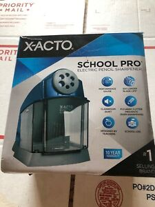 X acto Schoolpro Classroom Electric Pencil Sharpener Heavy Duty Blue grey Strong