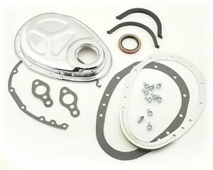Mr Gasket 1099 Timing Cover 2 piece Steel Chrome Plated Chevy Small Block Kit