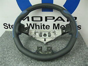 Dodge Challenger Charger Custom Leather Steering Wheel Blue Grip Stitching Mopar