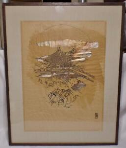 Fine Japanese Ukimido Temple Metallic Rice Paper Signed Framed Woodblock Print