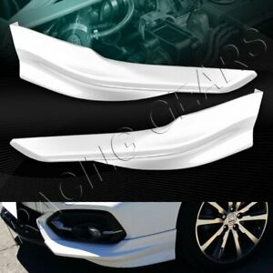 Hfp Style Painted White Front Bumper Spoiler Lip 2 pcs Fit 14 15 Honda Civic 2dr