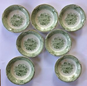 Vintage Green Transfer Butter Saucer Plate England 7 Pieces 3 1 4 Inches