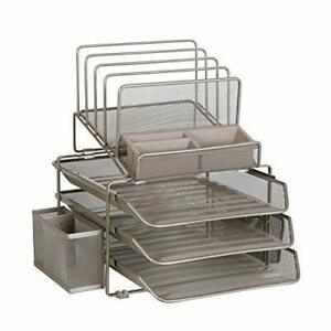 Desk Office Table Organizer Supplies With 4 File Holder Pen Pencil Mesh Metal
