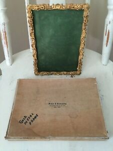 Antique Royal Mfg Co Gold Plated Picture Frame Saks Company Ny Original Box