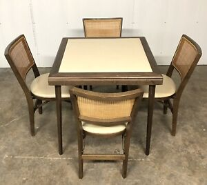 Mid Century Stakmore Folding Card Table W 4 Vintage Caned Back Vinyl Chairs