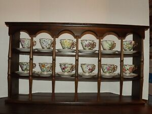 12 Vtg Norleans Japan Flower Ofthe Month Lusterware Teacup Saucers Wood Shelf
