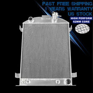 3 Row Aluminum Radiator For 1930 1932 Ford Model A B Chevy V8 Engine 2 4 9 thick