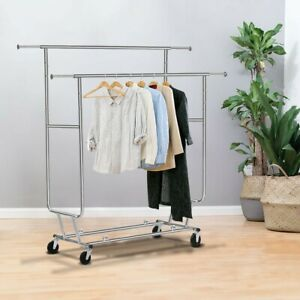 Double Commercial Collapsible Clothing Rolling Garment Rack Adjustable Length