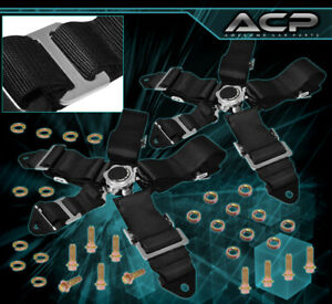 2x 3inch 5 point Race Safety Seat Belt Cam Lock Harness Strap Racing Black