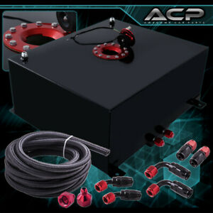 80l 21 Gallons Black Aluminum Fuel Cell Tank Red Cap Oil Line 10an Fitting