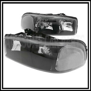 For 00 06 Gmc Yukon Replacement Head Lamps Black Housing Clear Corner Reflector