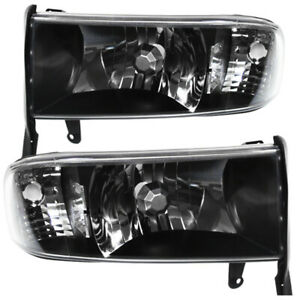 Black Housing Clear Lens Reflector Headlights Lamp For 1994 2001 Dodge Ram 1500