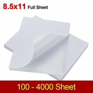 100 4000 Shipping Labels 8 5 X 11 Full Sheet Blank Sticker Label Self Adhesive