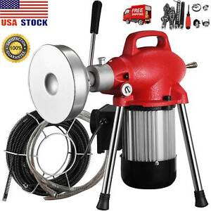 3 4 4 sectional Pipe Drain Auger Cleaner Machine Snake Sewer Clog 8cutter 500w