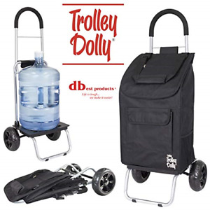 Trolley Dolly Black Shopping Grocery Foldable Cart Collapsable Portable Smooth