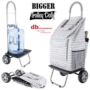 Bigger Trolley Dolly Grey Chevron Shopping Grocery Foldable Cart Multi function