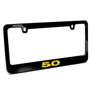 Ford Mustang 5 0 In Yellow Black Metal License Plate Frame