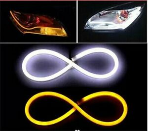 60cm Soft Car Led Turn Signal Light Strip Dual Flexible Guide Flowing Drl Lamp