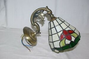 Antique Art Nouveau Converted Brass Gas Light Fitting With Stained Glass Shade