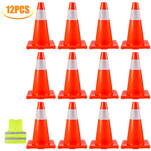 12x18 Traffic Safety Parking Cones Reflective Collars Warning Construction