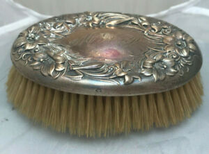 Sterling Silver Vanity Oval Brush Victorian Nouveau Antique Vtg Whiting Lion