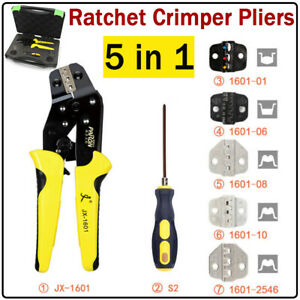 5 In 1 Ratcheting Wire Terminal Crimper Crimping Pliers Tool Kit Set screwdriver